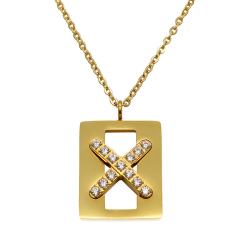 luxurious inlay crystal cross pendant necklace
