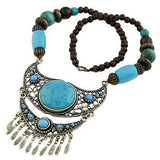 ethnic stone inlay carved tibetan silver color tassel necklace