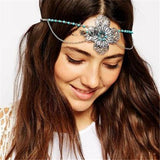 bohemian tassel flower silver headband hair jewelry
