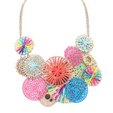 multicolor bohemian flowers pendant choker necklace