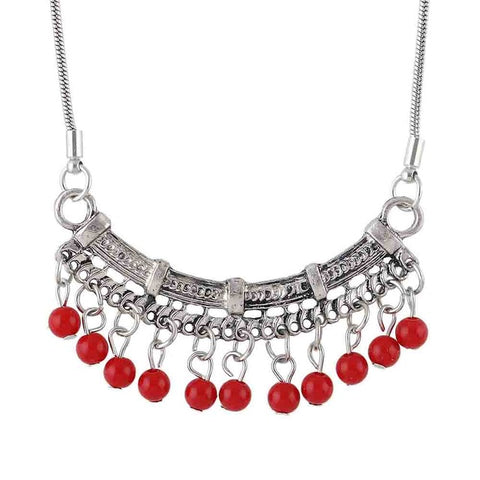 vintage style stone beads pendant statement necklace for women