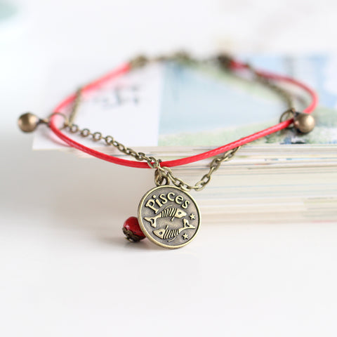handmade 12 zodiac red wire with ceramic beads anklet