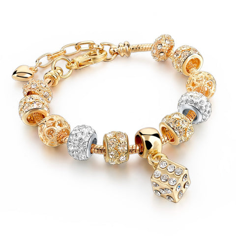 classic crystal square charm bracelet for women