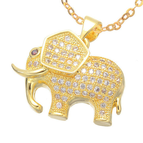micro pave zircon elephant pendant necklace for women