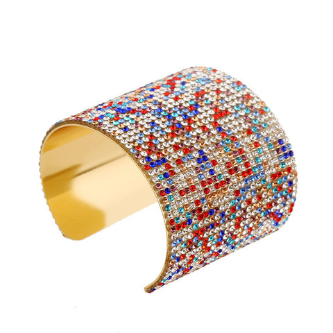 gold color colorful crystal bangle bracelet for women