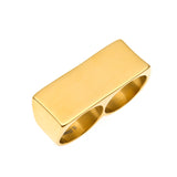 hip hop style stainless steel gold color two fingers ring