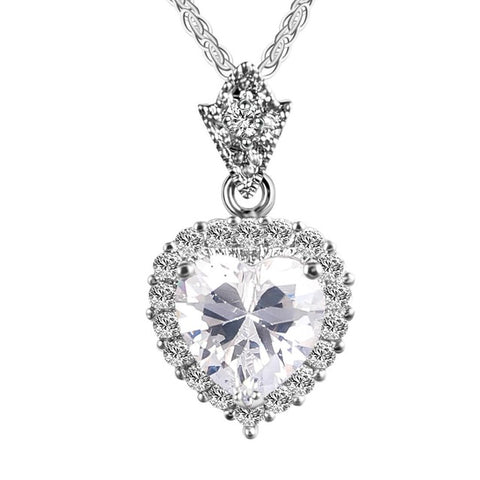 zircon heart pendant silver color chain necklace for women