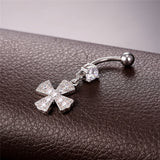 gold/silver color navel piercing cross belly button ring