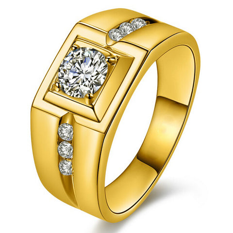 gold/silver color cubic zirconia ring for men