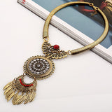 vintage feather big gem choker necklace & pendant for women