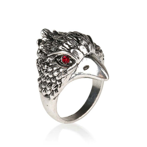 punk style plating silver eagle head crystal ring for men