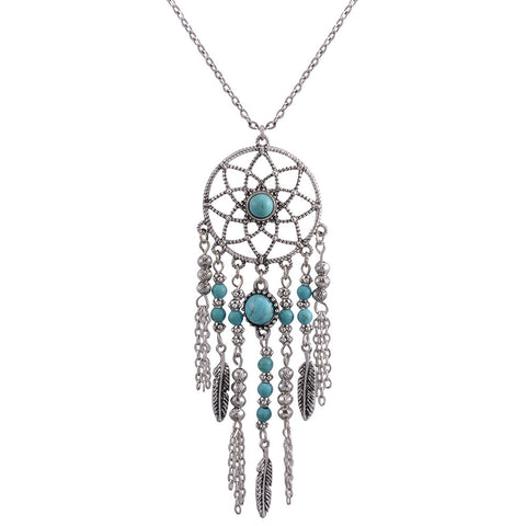 bohemia gold/silver color dreamcatcher pendant necklace