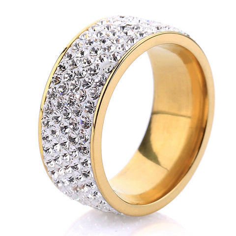 gold color stainless steel 5 row crystal ring for women