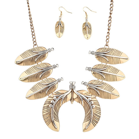 indian style feathers shape statement jewelry set for women