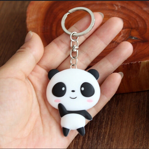 cute silicone panda cartoon key chain for women