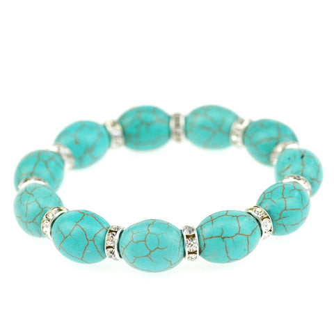 green stone charm link chain bracelet & bangle for women