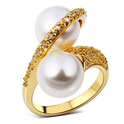 luxury style cubic zircon & imitation pearl ring for women