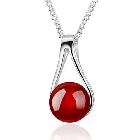 natural red onyx beads pendant necklace for women