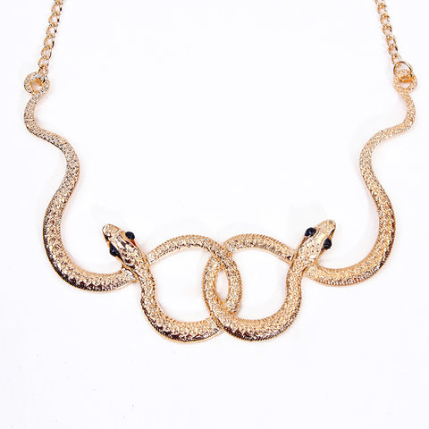 vintage gold color double snake with austrian zircon necklace