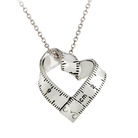 gold/silver color heart ruler necklace & pendant for women