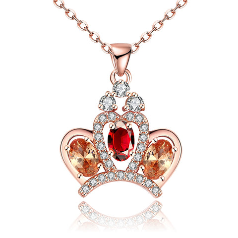 gold color crown with zircon crystal pendant necklace