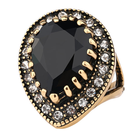 vintage black water drop gold mosaic cz ring for women