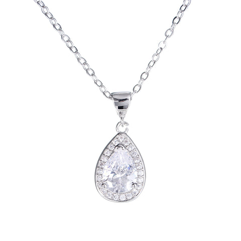 white gold color crystal water drop necklace & pendant for women