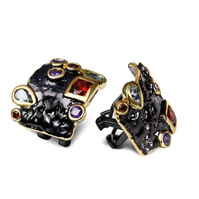 black gold color cubic zirconia stud earnings for women