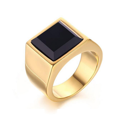 gold color stainless steel black square stone ring