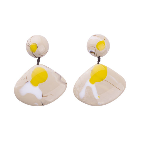 trendy oval resin stone drop earrings for women