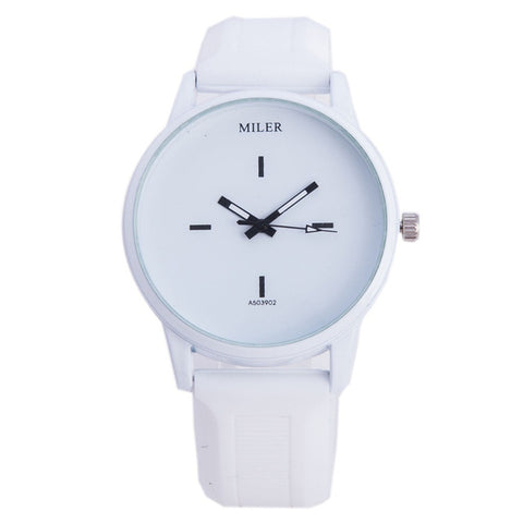 trendy minimalist pattern silicone band quartz wrist watch