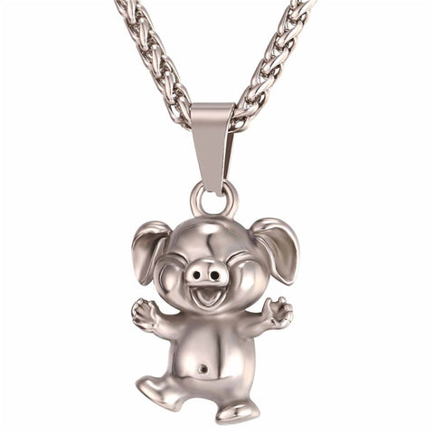cute little pig stainless steel pendant chain necklace