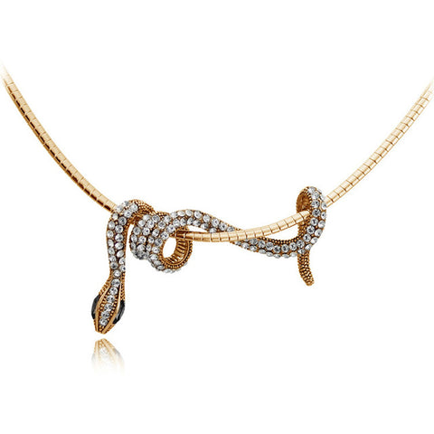 gold color long snake pendant necklace for women