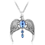 royal crown eagle blue crystal pendant statement necklace