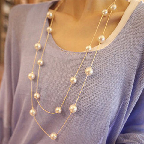 long double layers chain imitation pearl necklace