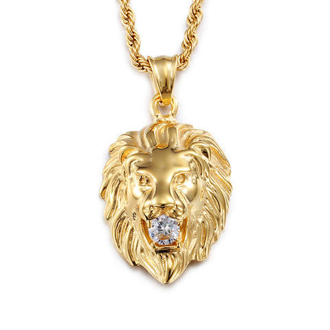 stainless steel lion head with crystal pendant necklace for men