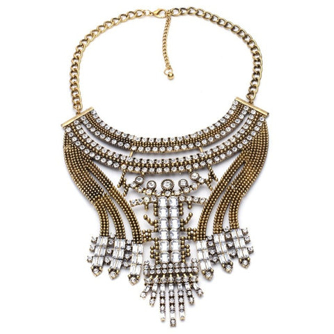 ethnic metal rhinestones choker statement necklace for women