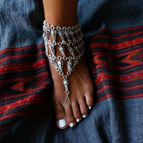 indian style multilayer coin tassel chain anklet for women