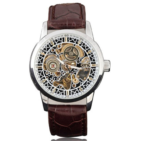 elegant mechanical skeleton dial leather band wrist watch for men
