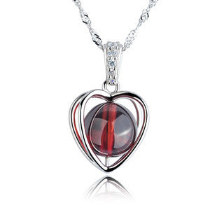 sterling silver heart pendant natural garnet necklace
