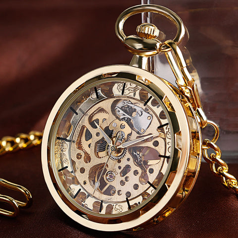 steampunk skeleton mechanical pocket watch for men