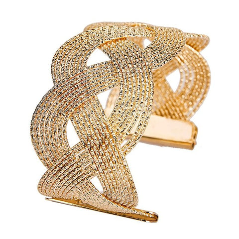 elegant hollow gold color wide cuff bracelet for women