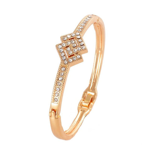 mosaic gold color rhinestone cuff bracelet for women