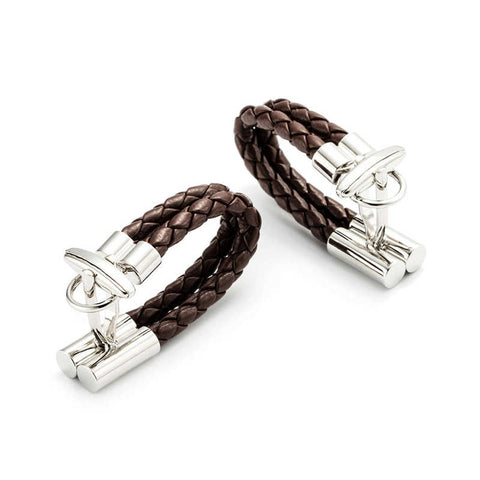 brown leather chain cufflinks for men