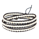 boho style multilayer leather chain & beads bracelet