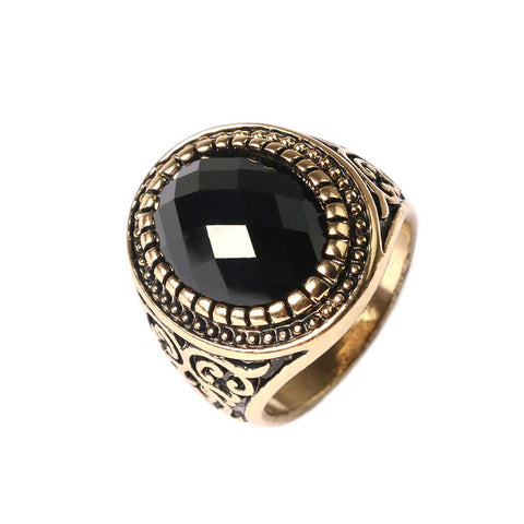 unique carved black stone ring for men