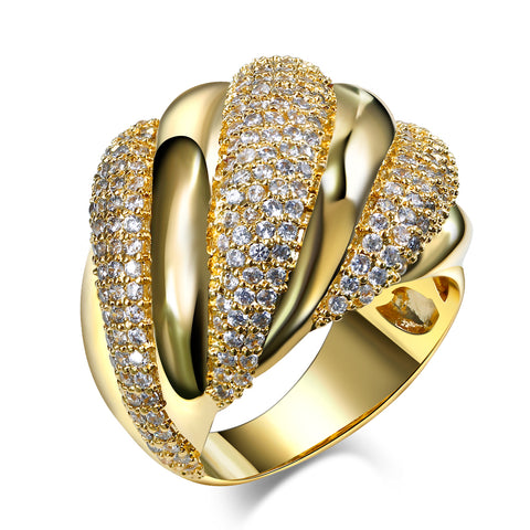 gold color clear stone ring for women