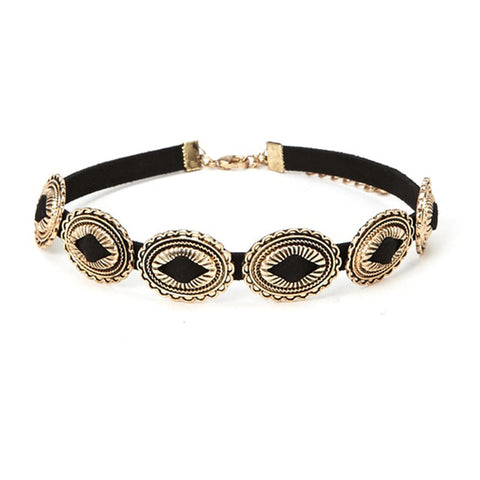 bohemia black rope chain flower choker necklace for women