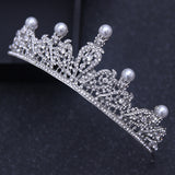 elegant silver crystal pearl tiaras and crown bridal hair jewelry