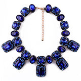 blue crystal beads statement necklace & pendant for women